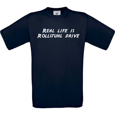"""Real life is Rollstuhl drive"" navy"