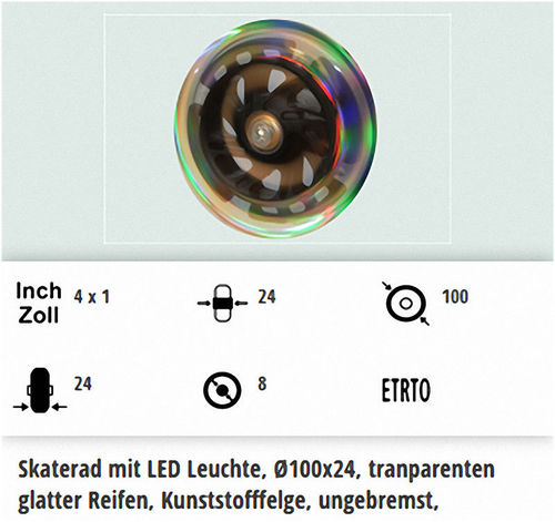 Lenkrolle mit LED Beleuchtung in 100 mm