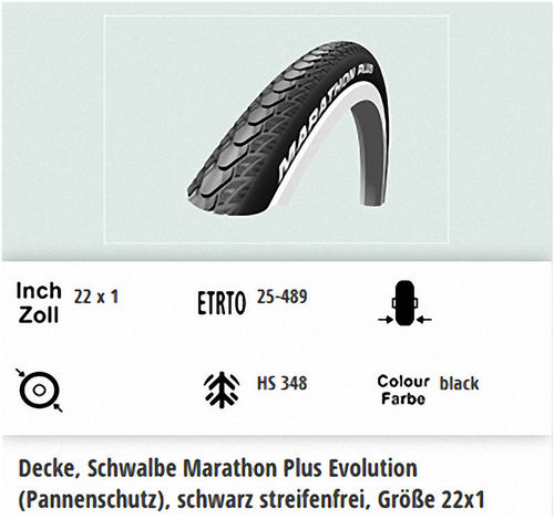 Schwalbe Marathon Plus Evolution 22X1